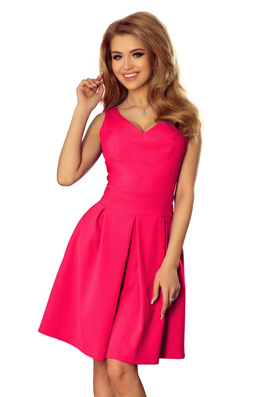 5247836827cc 160-6 Šaty s výstřihem a kapsami - růžová    Numoco CZ