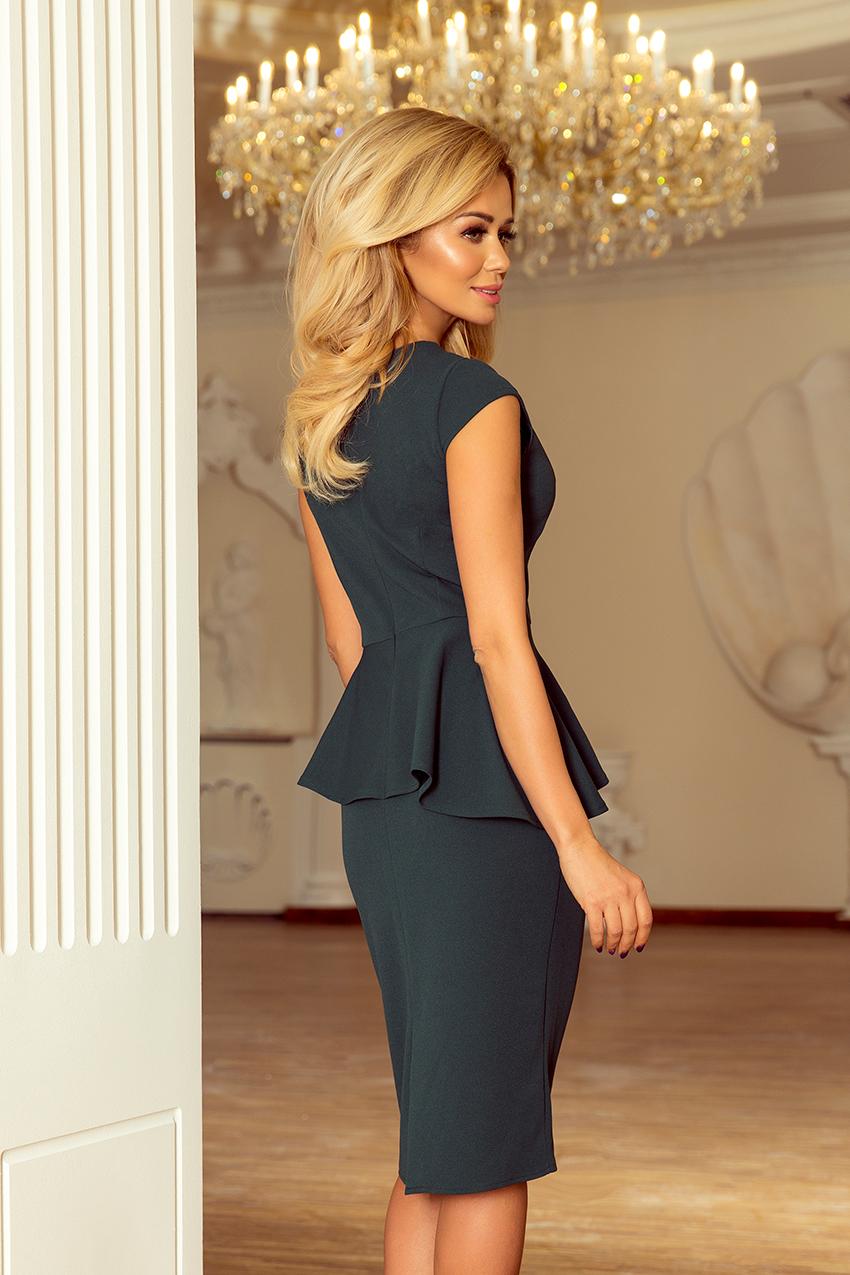 192-1 Elegantní midi šaty s volánky - zelené    Numoco CZ 952d19c457