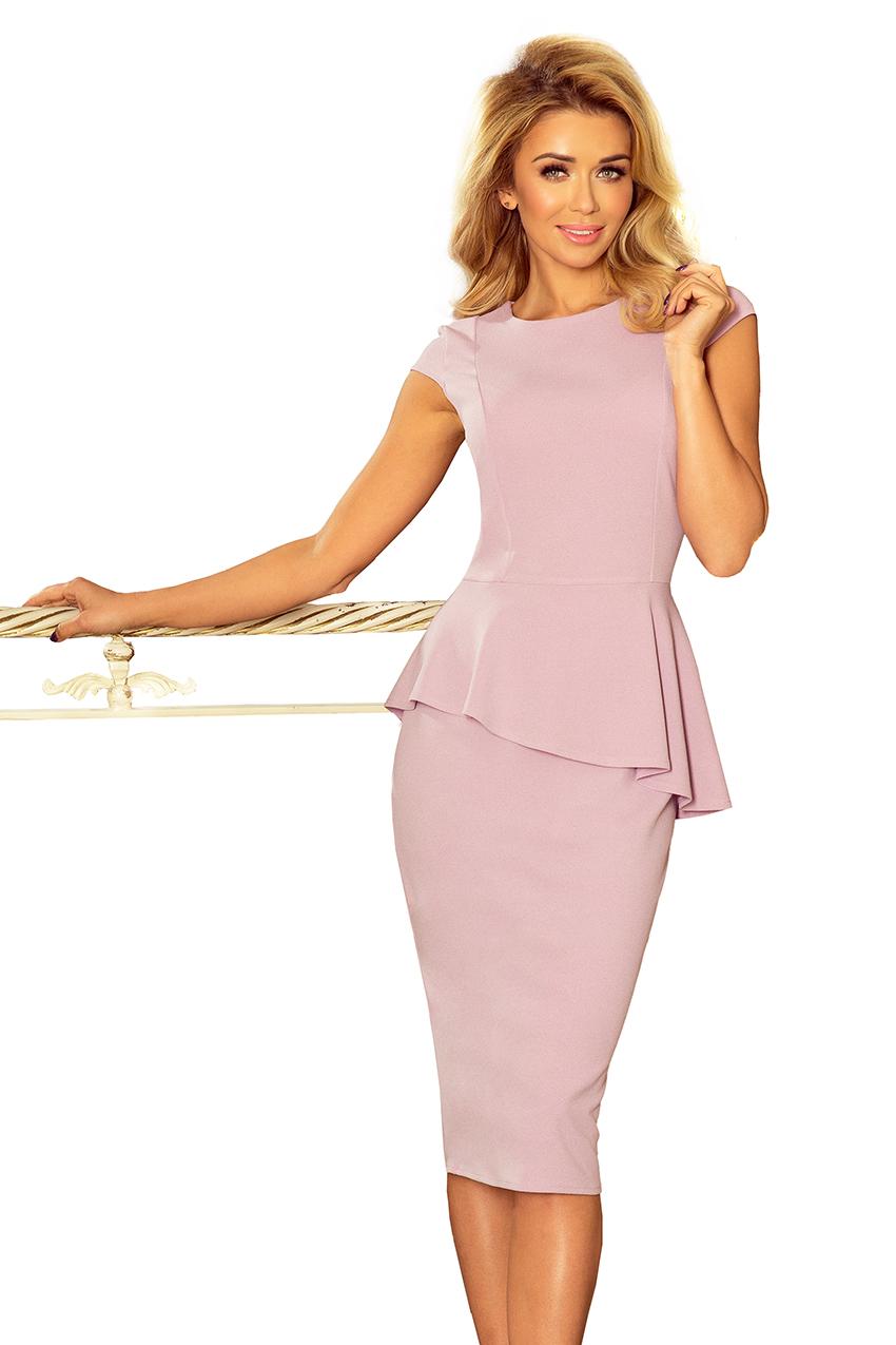 192-2 Elegantní midi šaty s volánky - LILA    Numoco CZ fc4ac53384