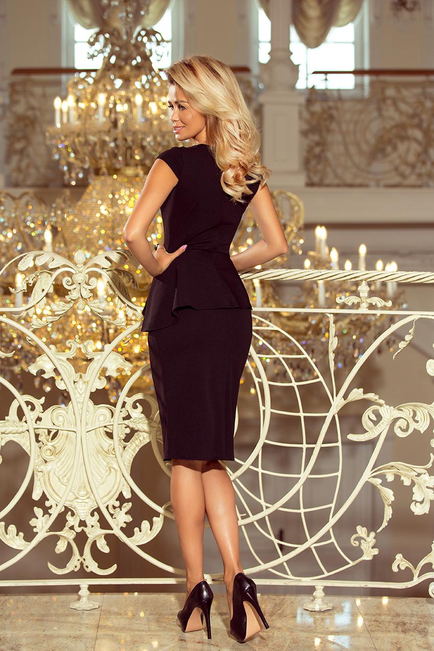 192-3 Elegantní midi šaty s volánky - černé    Numoco CZ 268c6a9a44