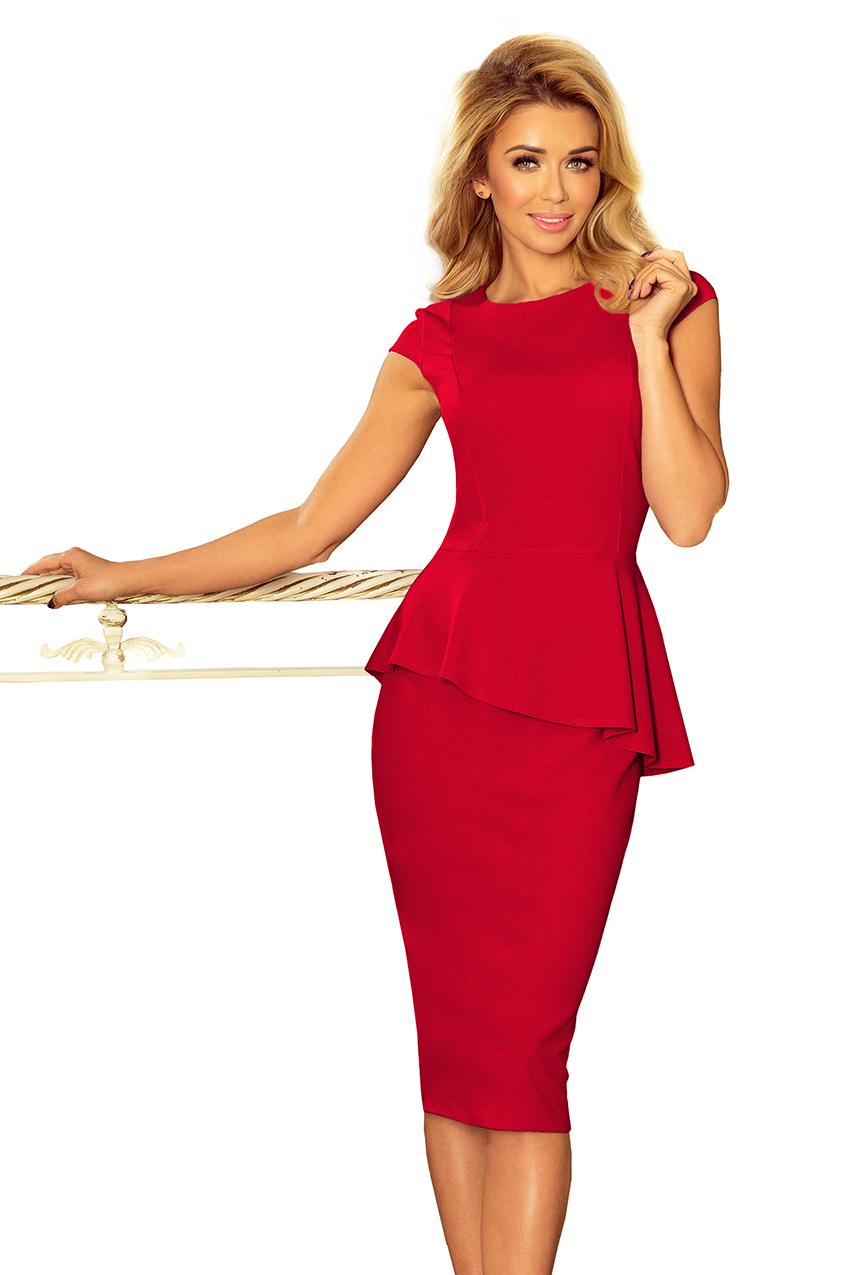 192-5 Elegantní midi šaty s volánky - červené    Numoco CZ 75edddcdb1