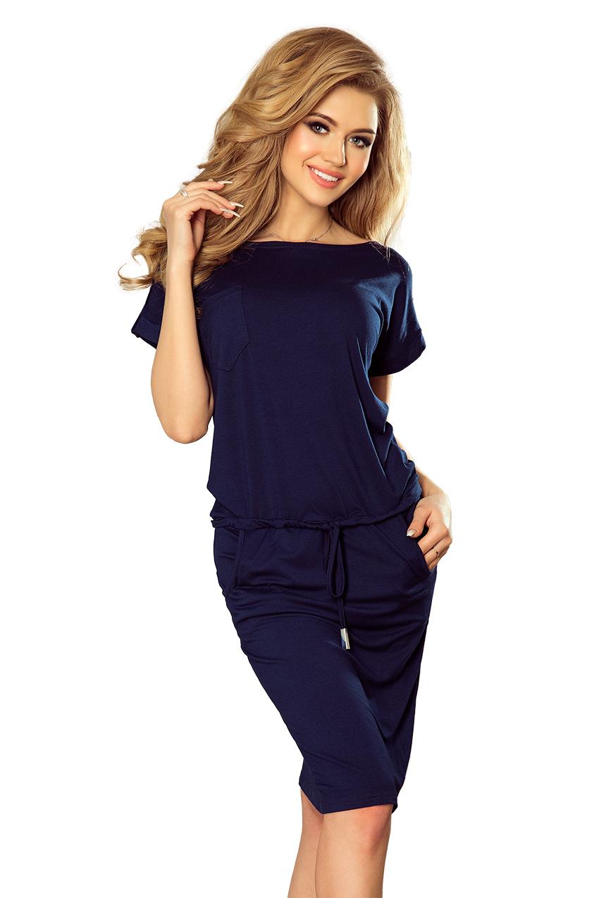196-1 Sportovní šaty s krátkým rukávem a kapsou - tmavě modré ... 8df043da31