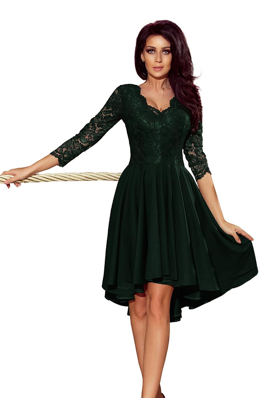 6cbf740f5fb2 210-3 NICOLLE - Exkluzivní šaty s krajkou - tmavě zeleny    Numoco CZ