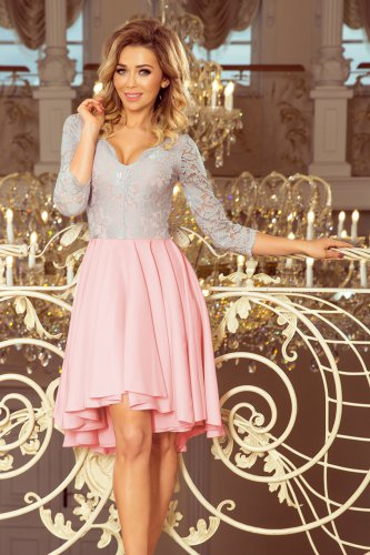 a7eac598aa2f ... 210-5 NICOLLE - Exkluzivní šaty s krajkou - pastelová růžová + šedá ...