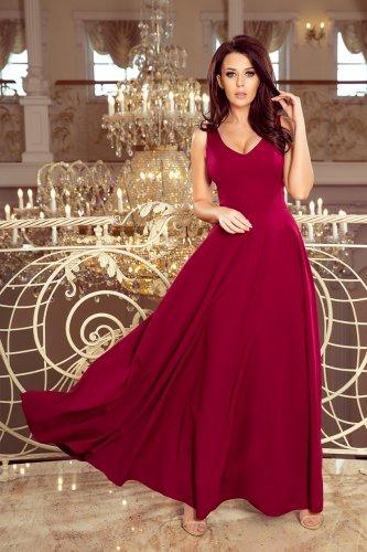 f3756e018ea4 246-1 CINDY dlouhé šaty s výstřihem - burgundské