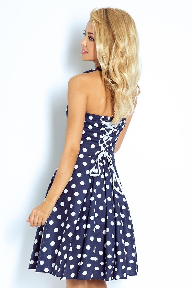 Rockabilly šaty - modrá s bílými tečkami 30-13    Numoco CZ d2e0173f9f3