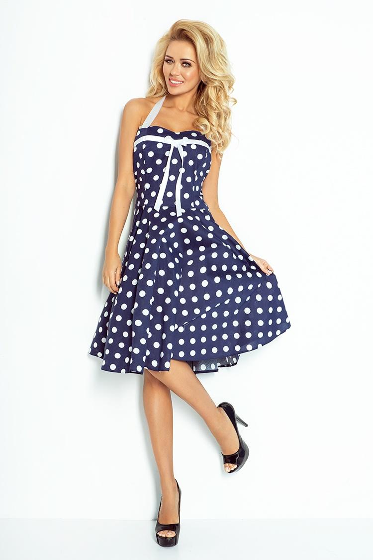 Rockabilly šaty - modrá s bílými tečkami 30-15    Numoco CZ d804240688c