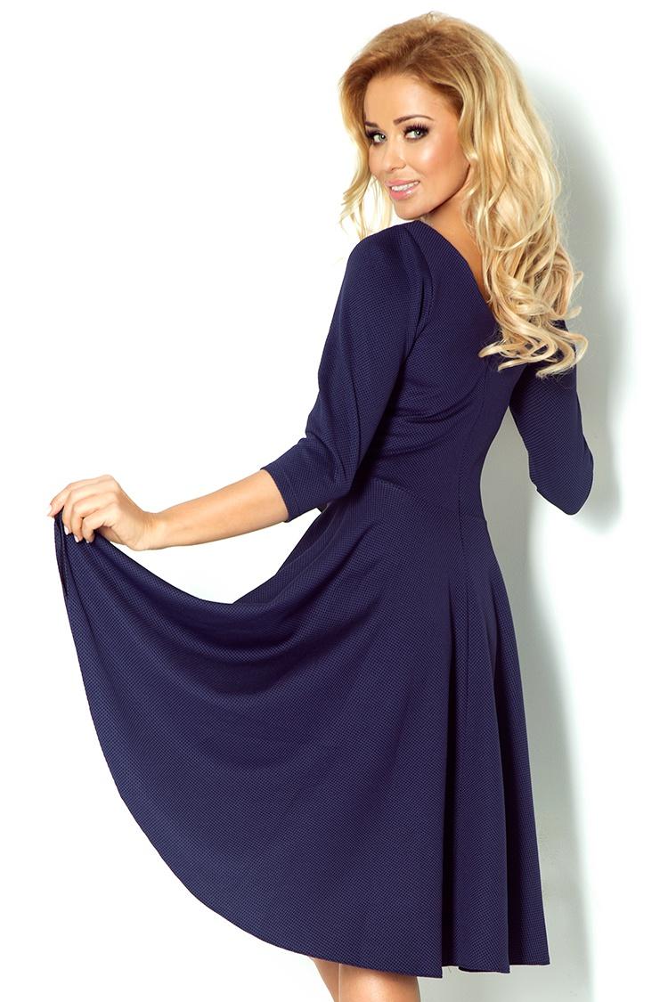 Šaty s 3 4 rukávy a delší zadní - tmave modrá 90-1    Numoco CZ e3463830fc