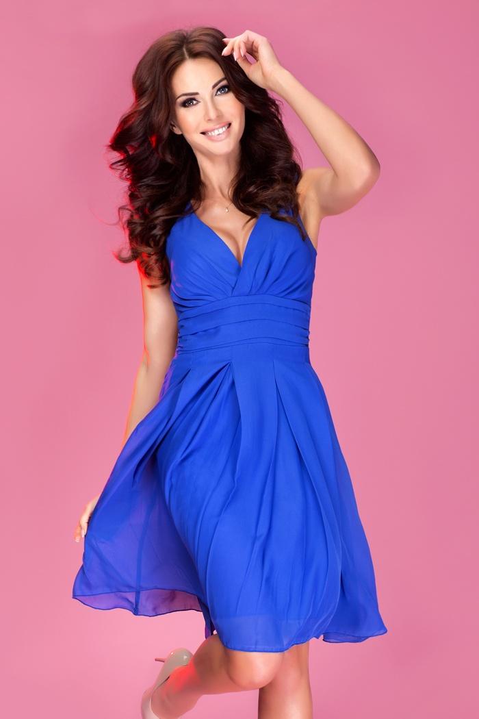 7263eb7452e Šifon šaty - barva královská modrá 35-1    Numoco CZ